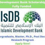 Islamic Development Bank Fully Funded Scholarships 2020